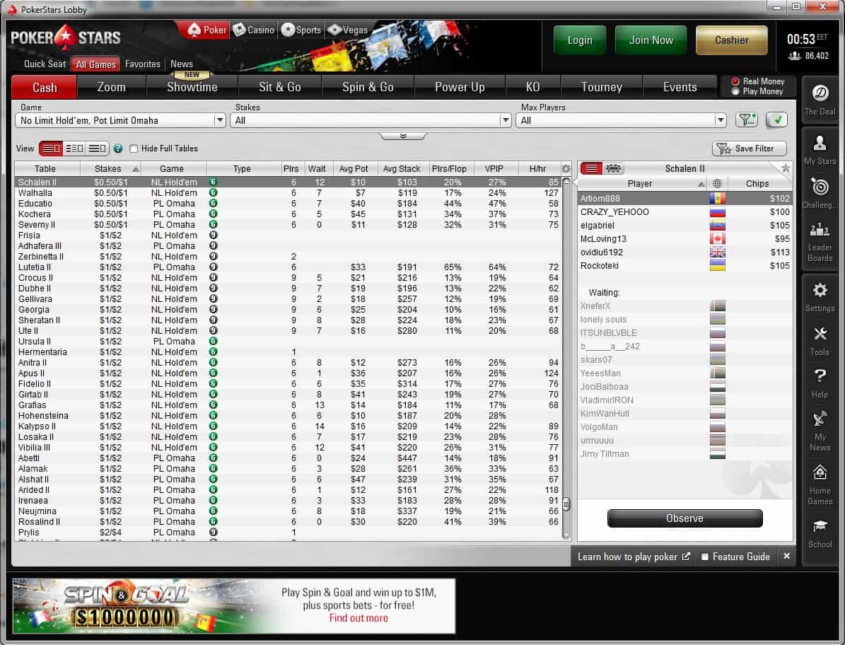 pokerstars lobby, pokerstars.es