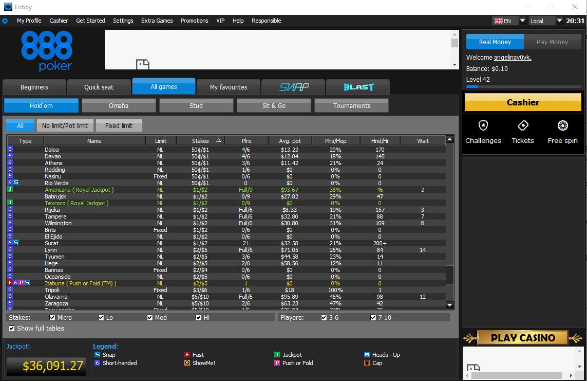 888poker Lobby Holdem