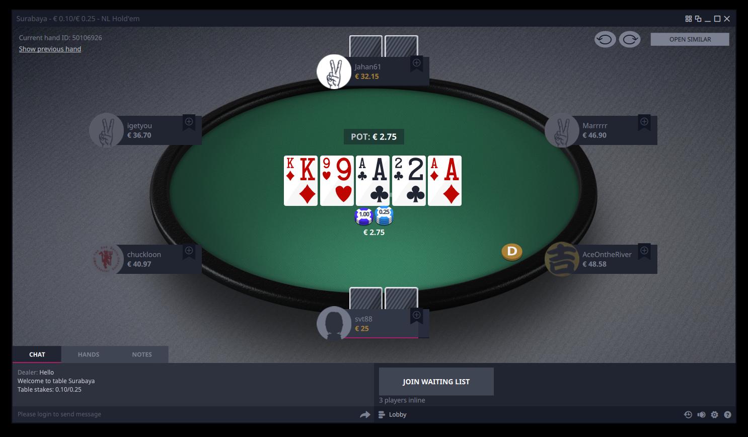 Vbet Poker Table Holdem